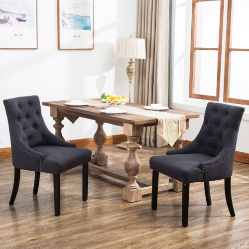 Best Set Of 2 Curved Shape Tufted Fabric Upholstered Dining 400 x 300