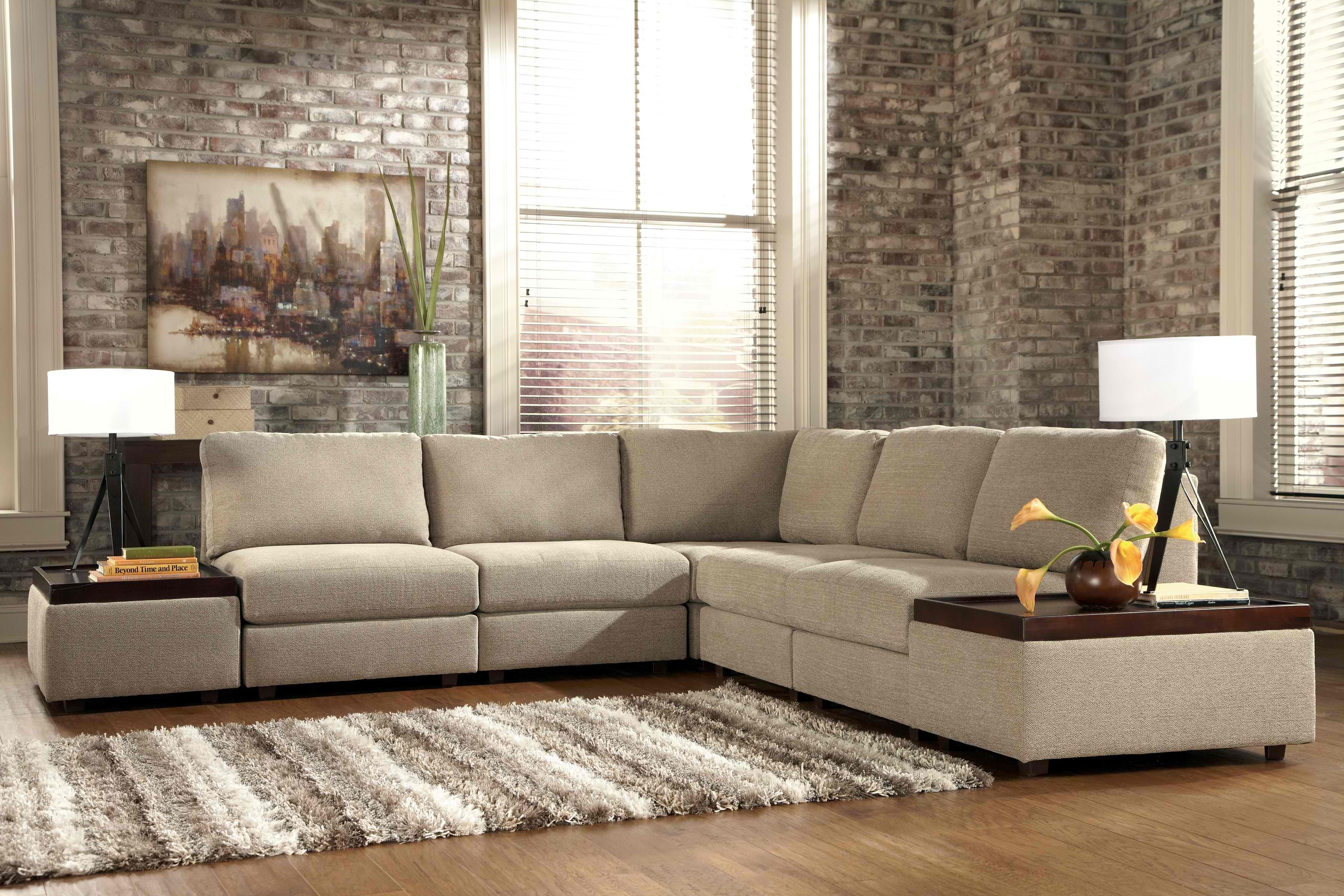 Tosha - Linen Armless Sectional with Accent Ottomans ...