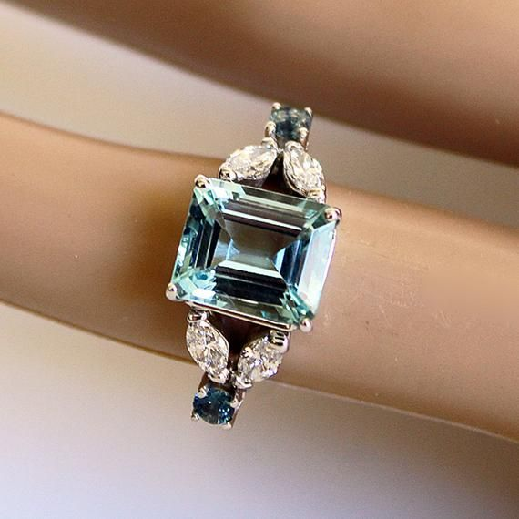 Aquamarine Statement Ring with Diamonds, and Blue-Green Sapphires, Emerald Cut Aqua, Anniversary Gift, MADE TO ORDER, Appraisal Included