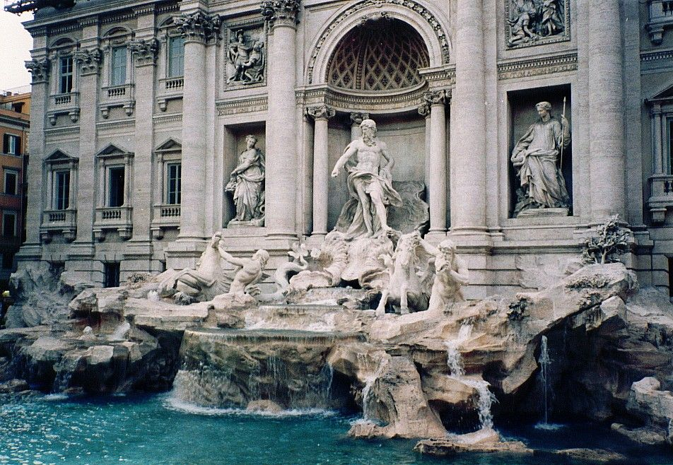 Rome (Trevi Fountain)  Beautiful but crowded.