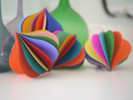 Pretty handmade paper ornaments for a designconscious friend