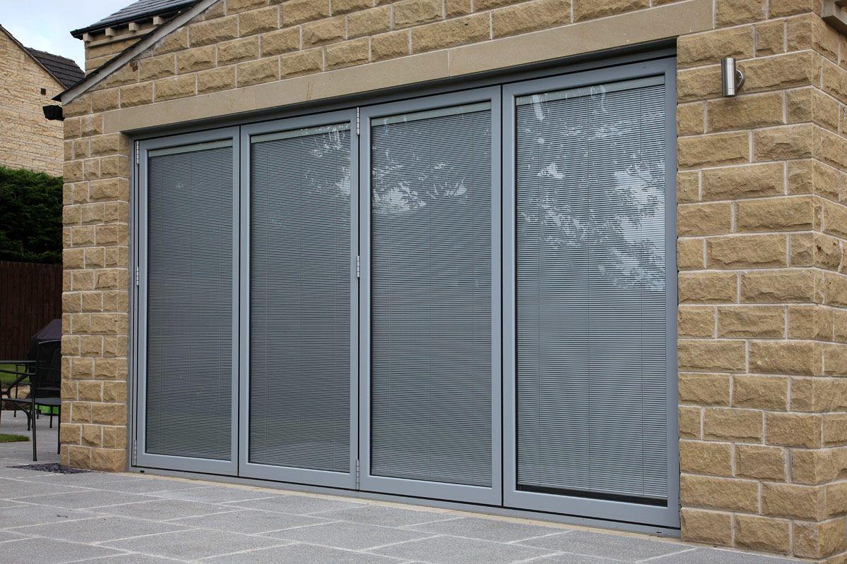 Light Grey Aluminium Bi Fold Doors With Integral Blinds