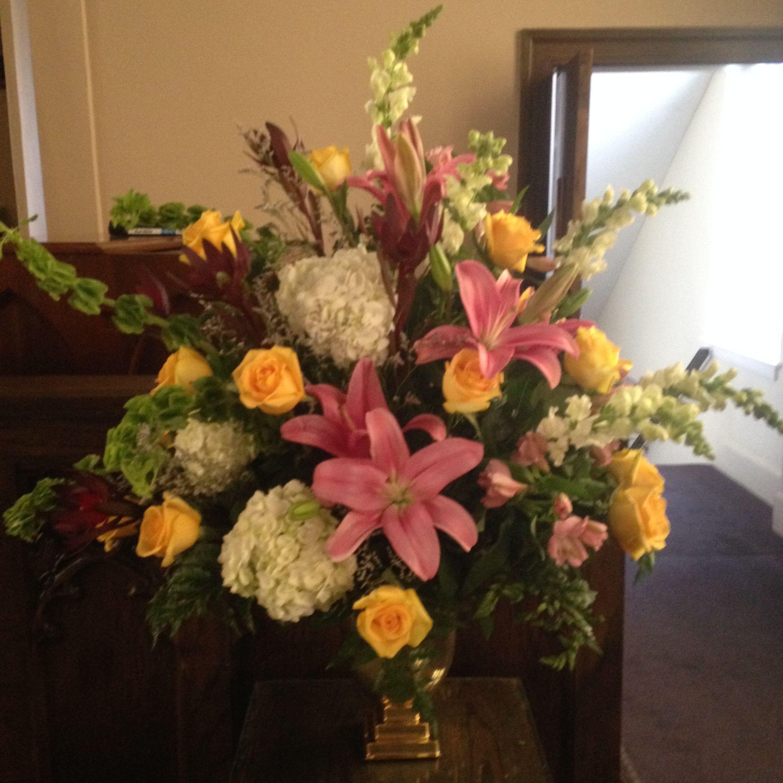 Church arrangement in mixed colors june 5 2016 first