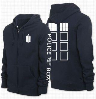 Doctor Who zip up hoodies for men navy fleece hooded sweatshirts