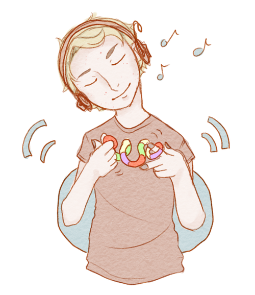 A Drawing Of A Person Wearing Headphones Listening To Music While Stimming With A Tangle Person Drawing Listening To Music Zelda Characters