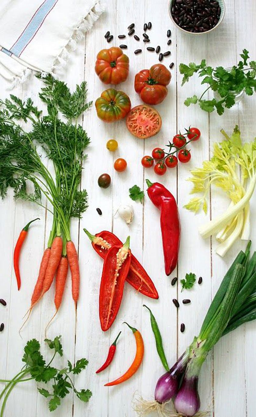 Bright beautiful fresh vegetables ready to cook