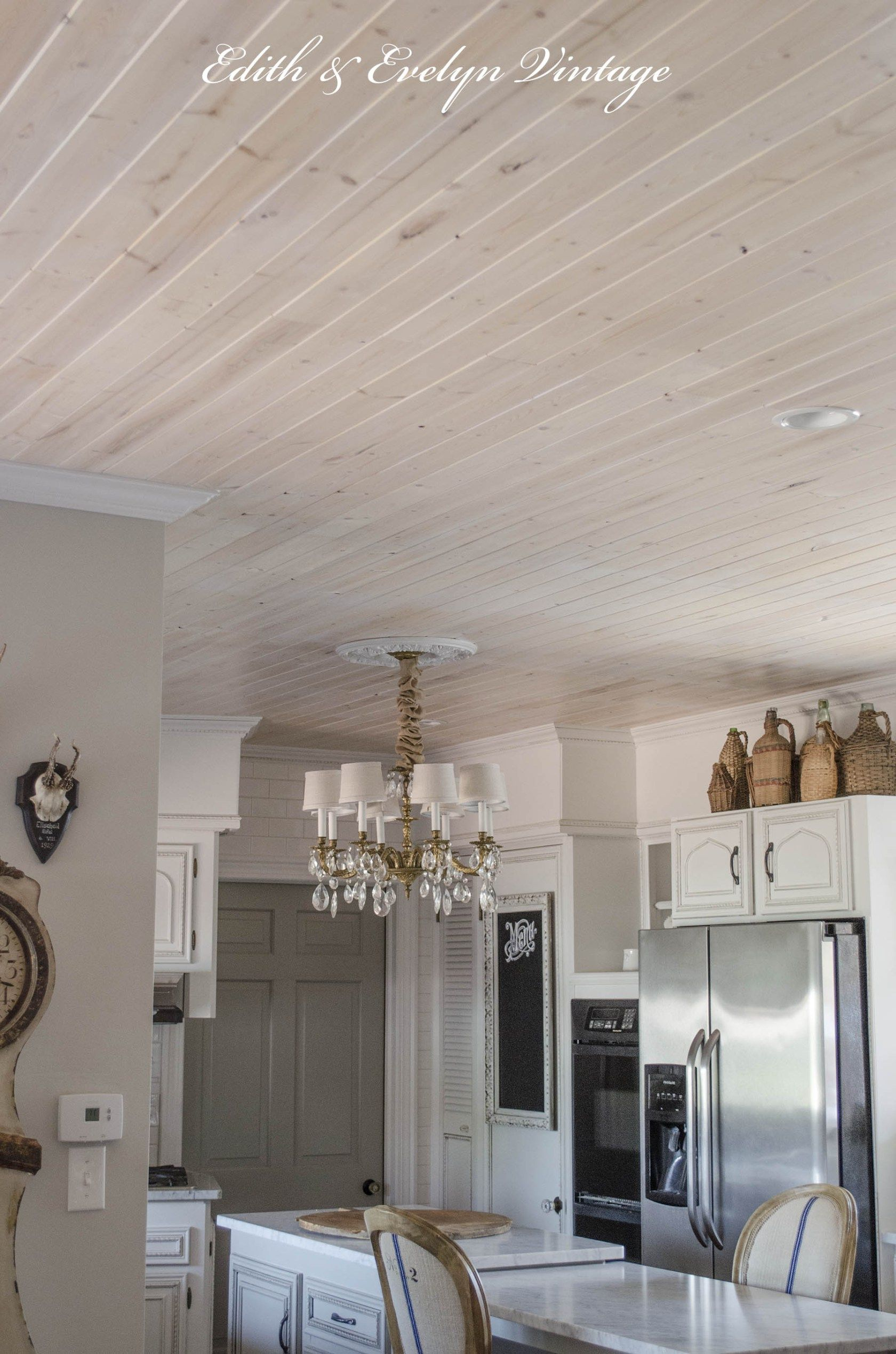 planked ceiling in kitchen with pickling stain. how to plank a