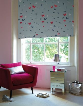 Butterflies Blue Designer Blackout Roller Blind - Fully made to measure - From £44 #orderblindsonline #designideas Please Re-Pin