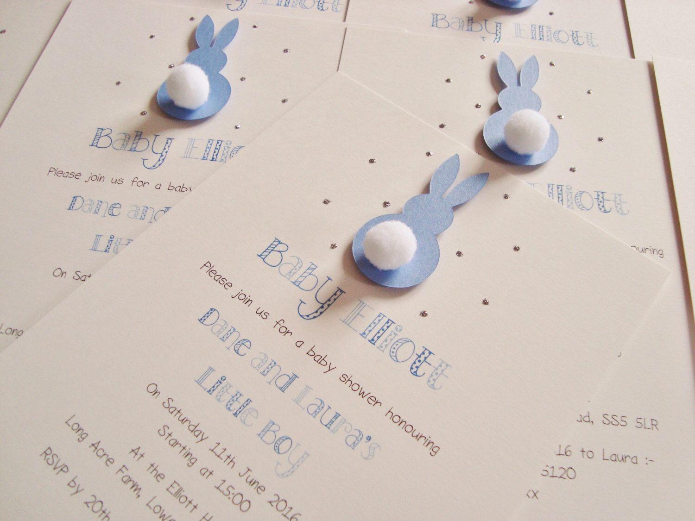 Set of 10 handmade personalised bunny rabbit baby showerbirthday set of 10 handmade personalised bunny rabbit baby showerbirthday partychristening invitations stopboris Choice Image