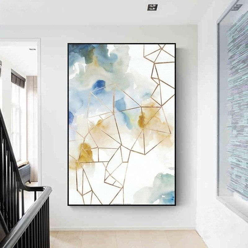 Modern Abstract Watercolor Paintings Fine Art Geometric Design
