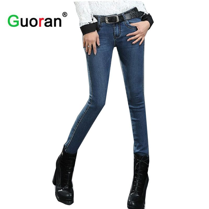Guoran} 2017 skinny jeans Pants for woman Plus size Blue denim ...