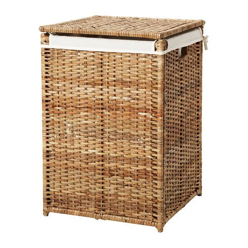 BRANÄS Laundry basket with lining IKEA Handwoven; each basket is unique.