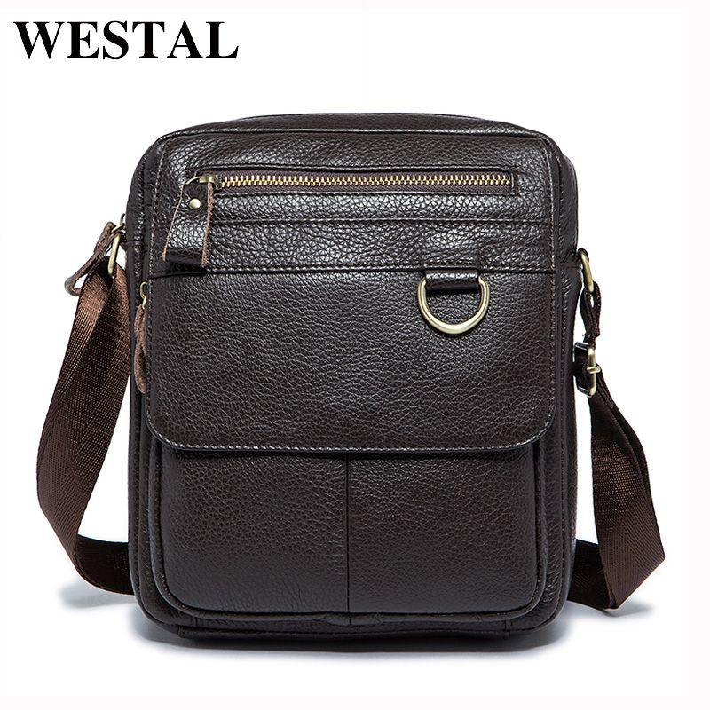 943beab6c626 WESTAL Genuine Leather Men Bag Fashion Male Messenger Bags Men s Small  Briefcase Man Casual Crossbody Shoulder Handbag 8088