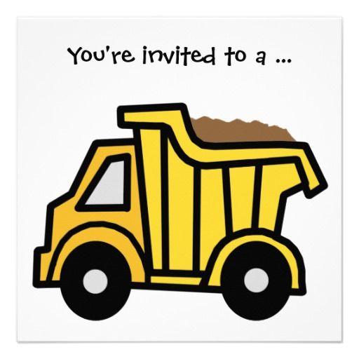 Cartoon Clip Art Dump Truck Boy Birthday Party Invitations