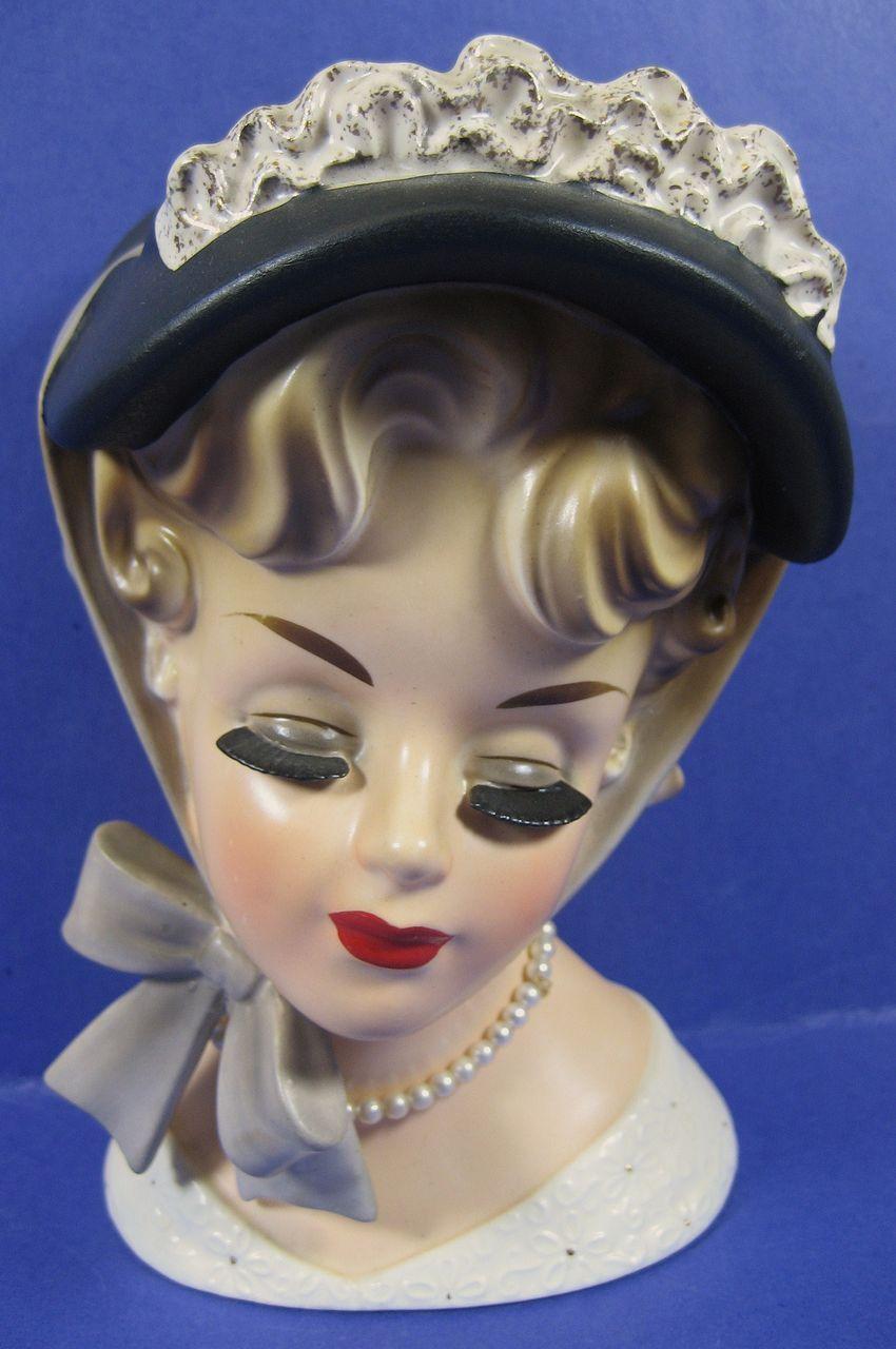 Brinns 7 Lady Head Vase Closed Eyes W Bow Under Chin From Headsupvintage On R Head Vase Ceramic Lady Heads Vase