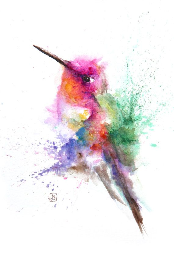 Hummingbird Bird Painting Original Watercolor Painting Color