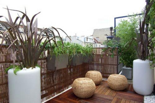 Balkon Sichtschutz Aus Bambus U2013 Praktische Und Originelle Idee   Balkon  Gestalten Blumen Pflanzen Korbmöbel Schutz Bamboo Wall   Bamboo Decoration  Ideas