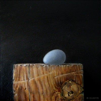 JEANNE ILLENYE - Still Lifes: Symbolism in Art HOPE blue egg wood block little g...