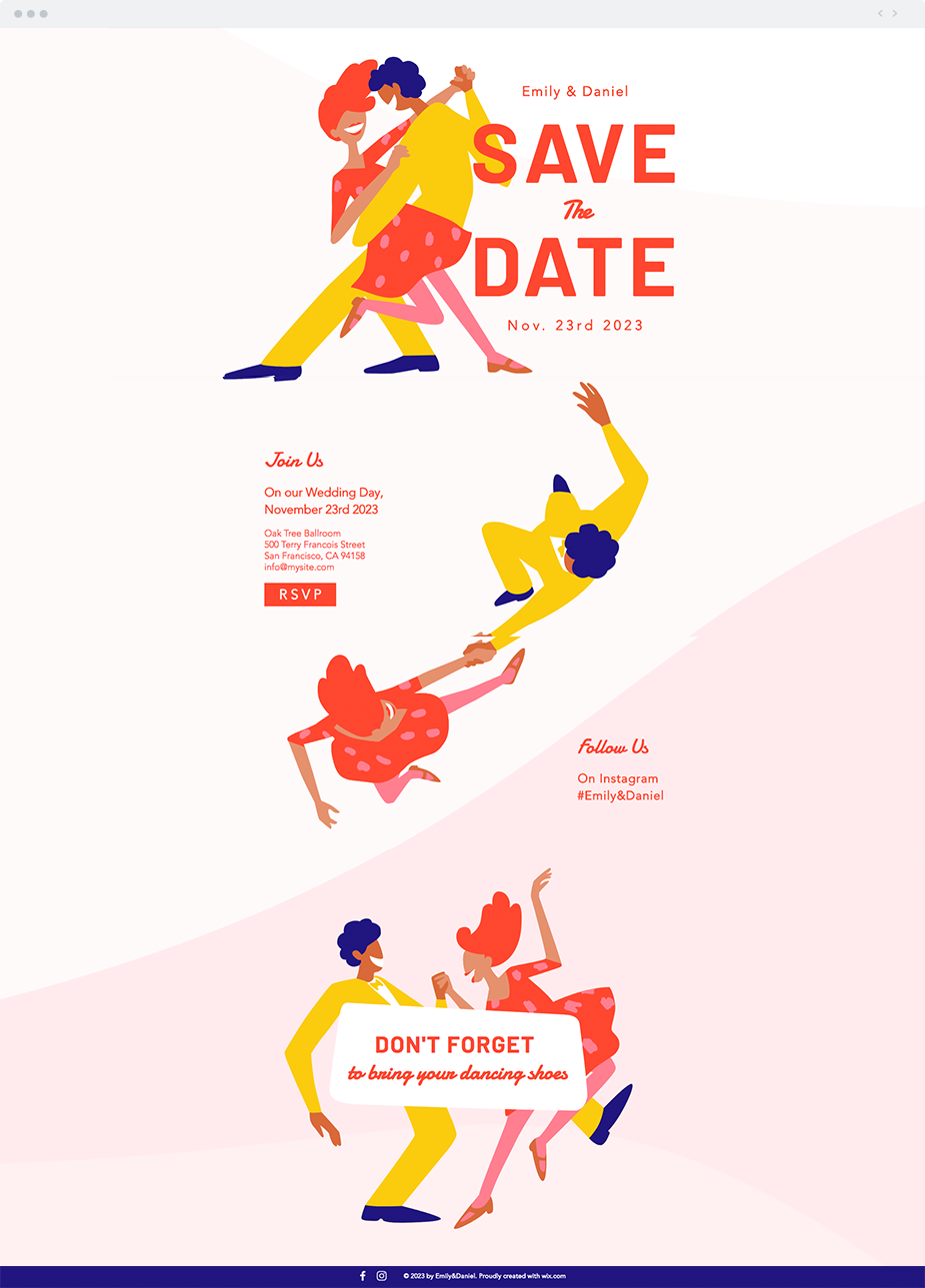 Wedding RSVP Website Template This fun, colorful design