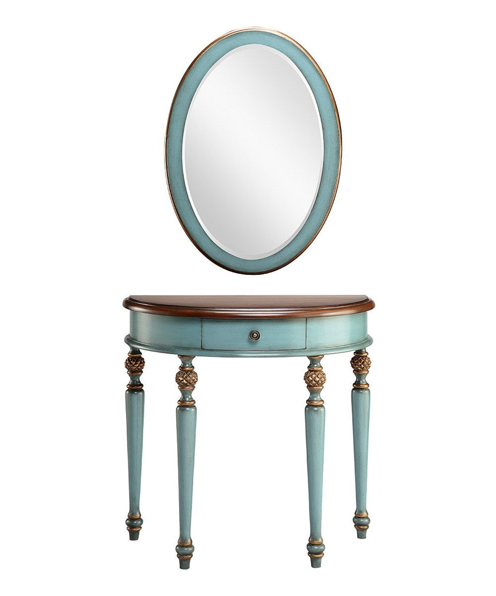 Blue Demilune Table Mirror Set By Timber Lane Furniture Zulilyfinds