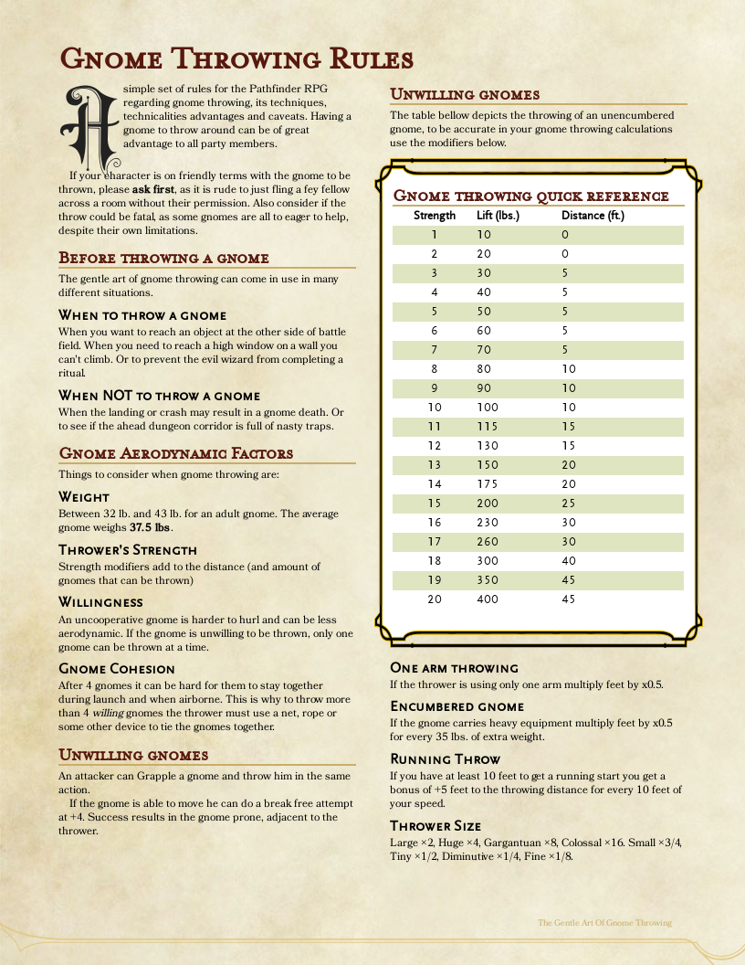 Gnome Throwing Rules For Pathfinder Rpg Dungeons And Dragons Rules D D Dungeons And Dragons Dnd Funny