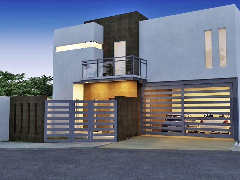 Fachada de casa moderna fachadas pinterest casas for Fachadas de casas modernas en la ciudad