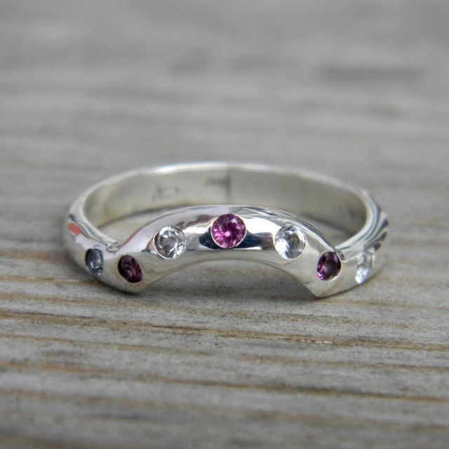 Rock Fetish Wedding Band with White Topaz Made to by onegarnetgirl but with diamonds