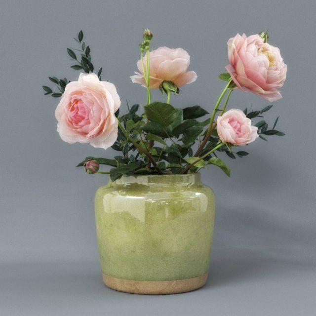 Rose Flower Pot 3d Model Max C4d Obj 3ds Fbx Lwo Stl 3dexport Com By 3darcmall Flower Pots Rose Flower Flowers