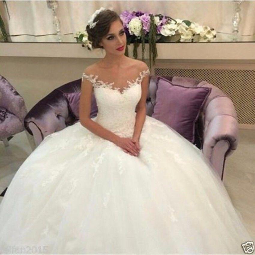 Find More Wedding Dresses Information About Elegant 2016 Lace Appliques Vintage Dress Sheer Neck Off