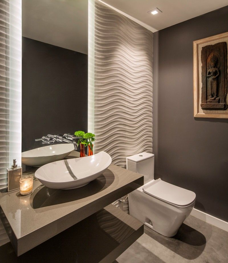 Half Bathroom With Grey Wall White Wavy Wall In One Side White Beauteous Half Bathroom Design Ideas