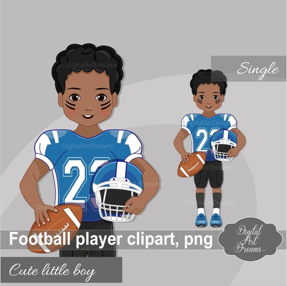 American Football Player Clipart, African American Boy