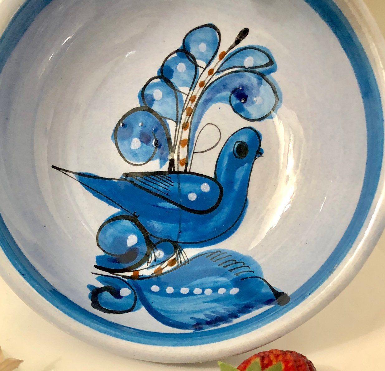 Striped Vase Blue Ceramic Vintage Distressed Handmade Pottery