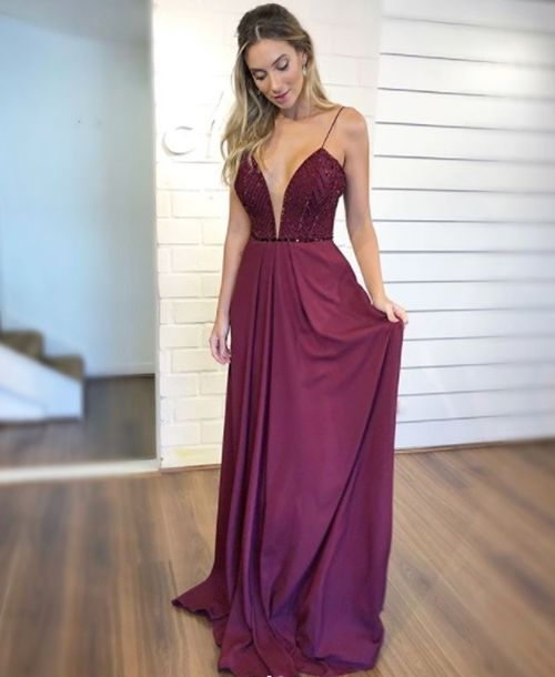 2836e87c9 VESTIDO LONGO MARSALA PARA MADRINHA | Clothes Accesories & Shoes ...