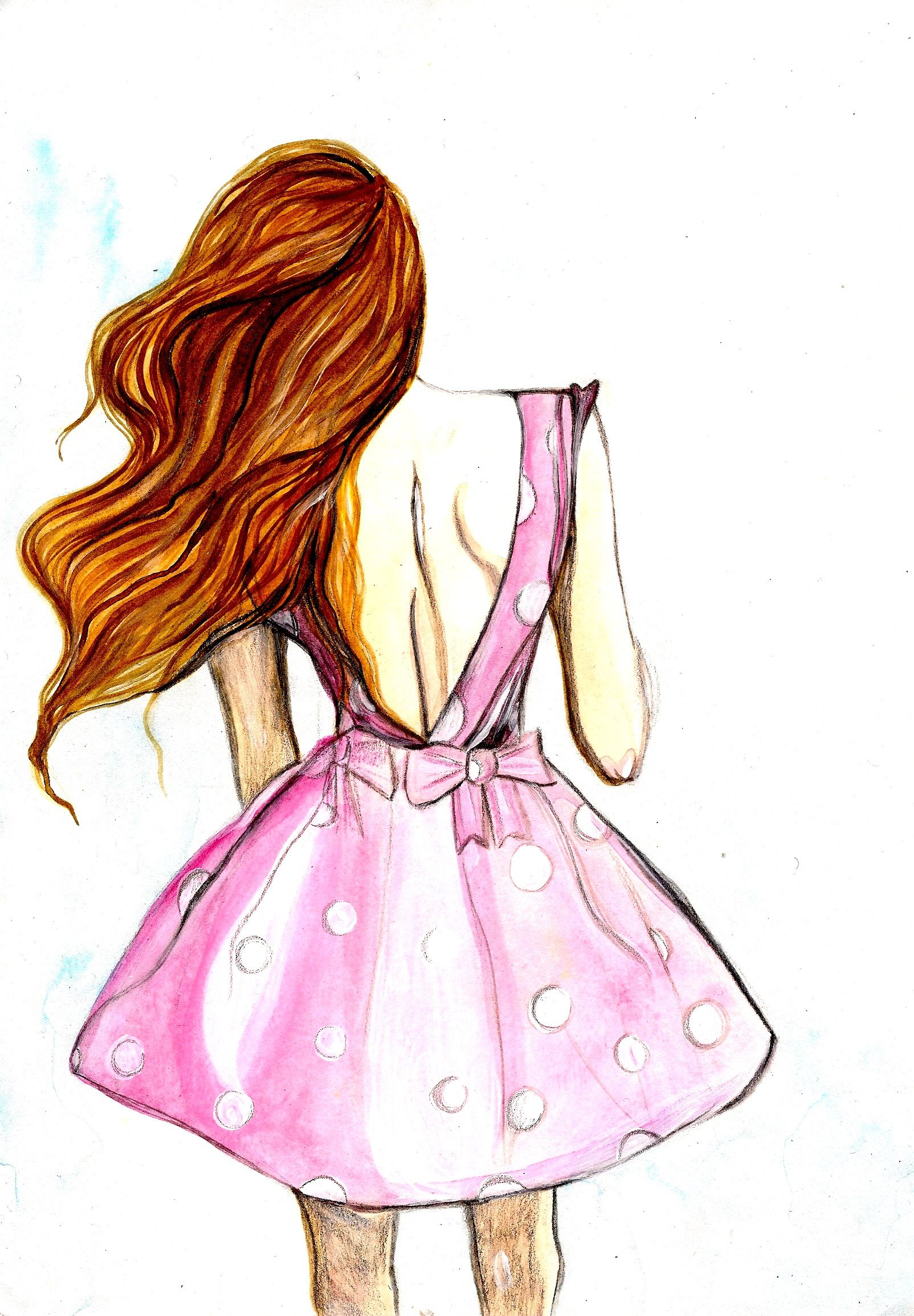 Pink Polka Dot Dress with Bow + Long Wavy Hair [: