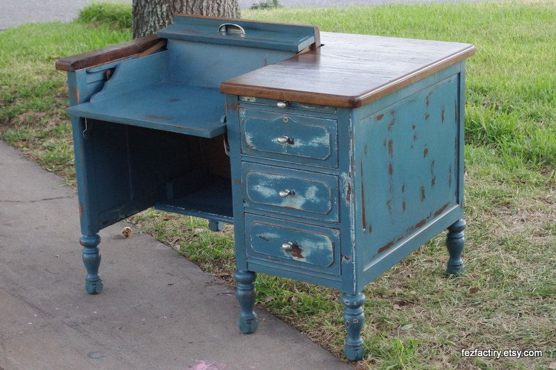 Peacock Blue Refinished Antique Typewriter Desk - Peacock Blue Refinished Antique Typewriter Desk FURNITURE