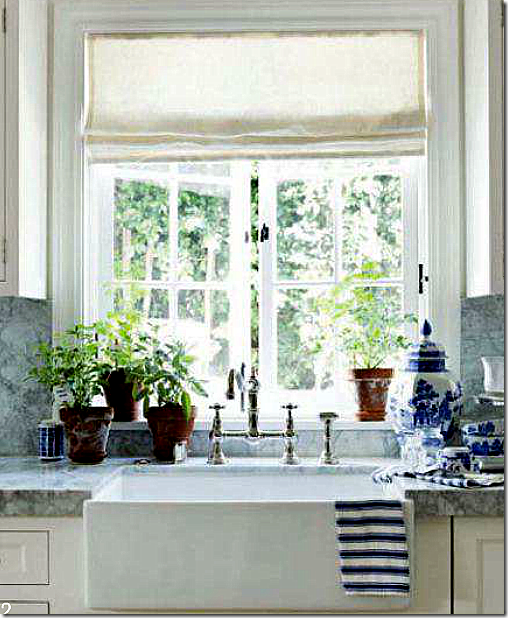 perfect sink and faucet love blue and white porcelain accents in white kitchen of designers mark sikes and michael griffin for house beautiful decjan 11. Interior Design Ideas. Home Design Ideas