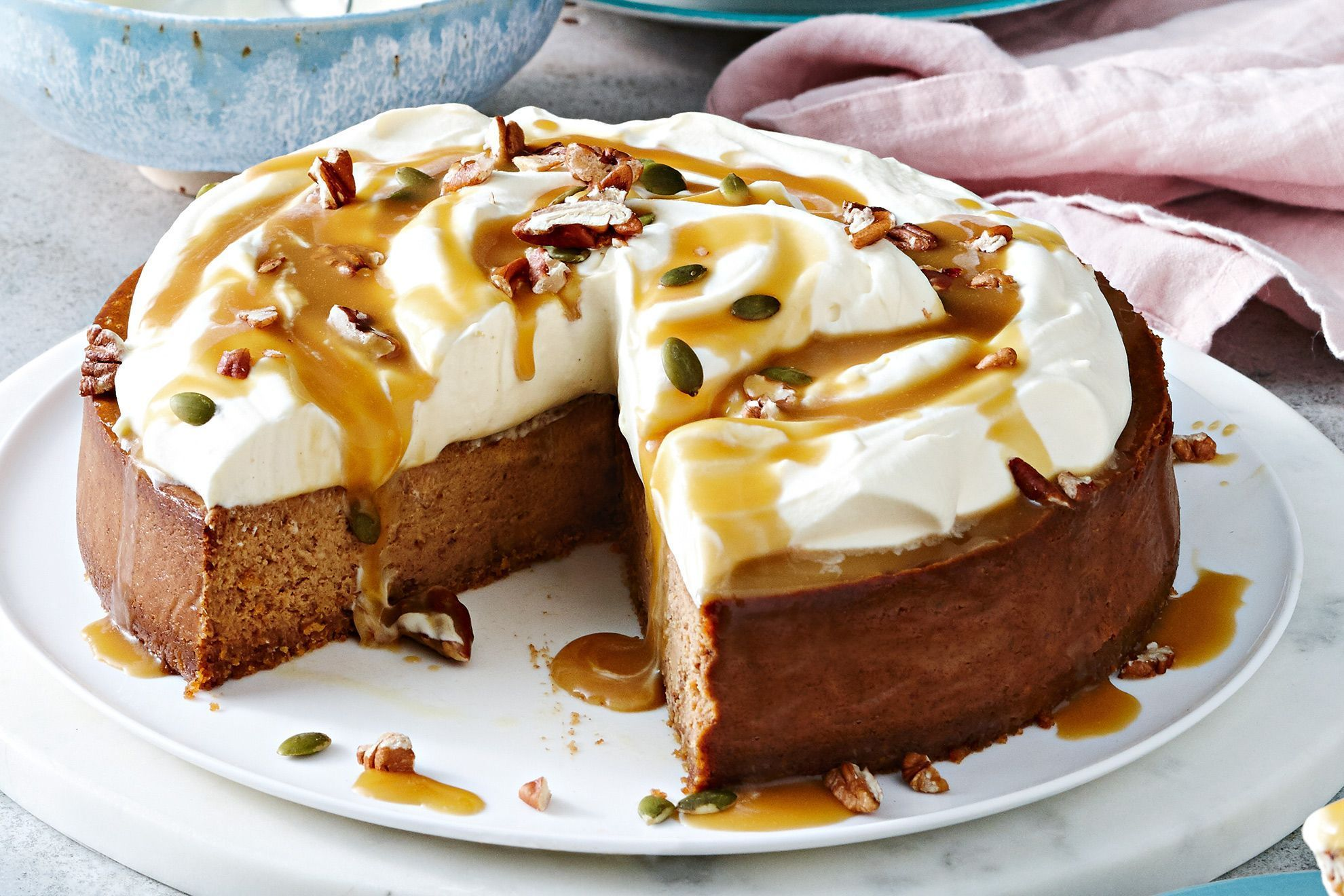Sticky Date Pudding Meets Cheesecake In This Devilishly Good Dessert We Ve Also Topped It With Whipped Cream Nuts And Desserts Dessert Ingredients Cheesecake
