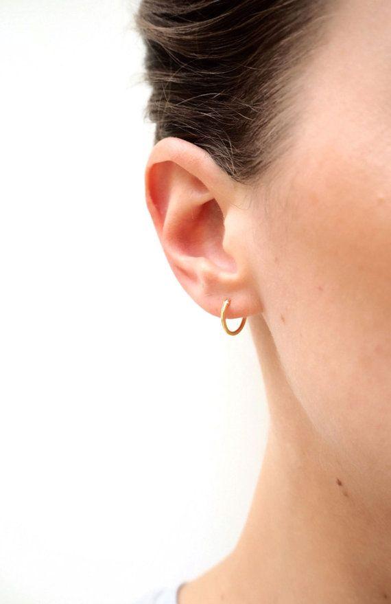 4f330a1a9 Tiny gold hoop earrings 11mm hoops Gold earrings by LuvMinimal ...