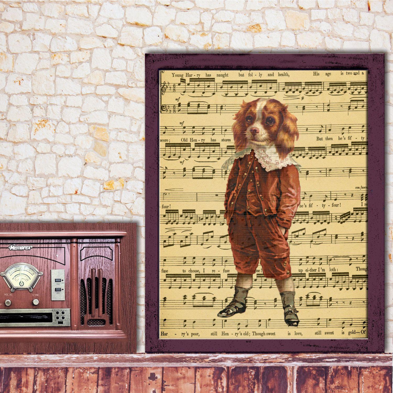 Dictionary Art Print, Vintage Boy Spaniel Art, Wall decor, Red ...