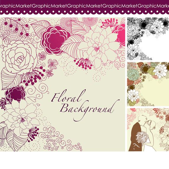 Floral Template Designs Clipart And Digital Paper For - Small invitation cards templates