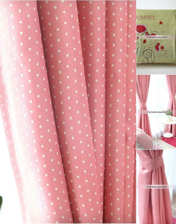Superieur Polka Dots Pink Blackout Curtains Of Poly And Cotton