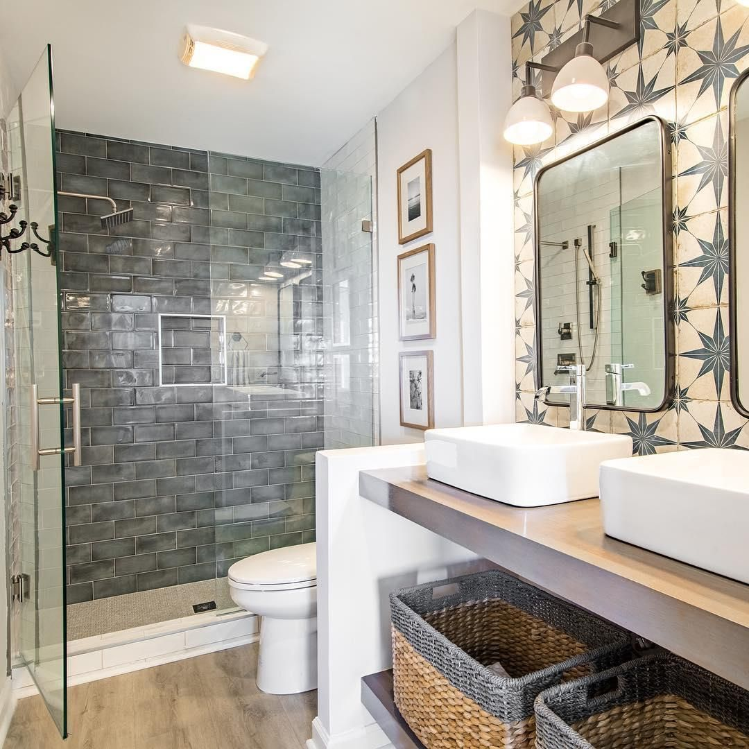 This Bathroom Emulates Modern Farmhouse Style 142cjfrippvilla It Was At First Sight With This Maste Blue Bathroom Tile Wall And Floor Tiles The Tile Shop