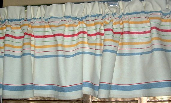 NEW Retro KITCHEN BORDER STRIPED VALANCE TABLECLOTH Look Print Medium  Weight Cotton 1 (one) 52 X 13 VALANCE 100% Cotton Valance Approx. 52W X 13L