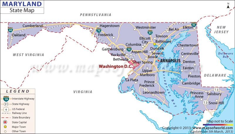 Map of Maryland | ROAD MAPS OF THE UNITED STATES | Maryland ...