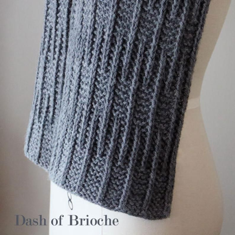 Photo of knitting pattern, knit pattern, scarf pattern, knit scarf pattern, brioche scarf, Dash of Brioche, instant download pdf DIY instructions
