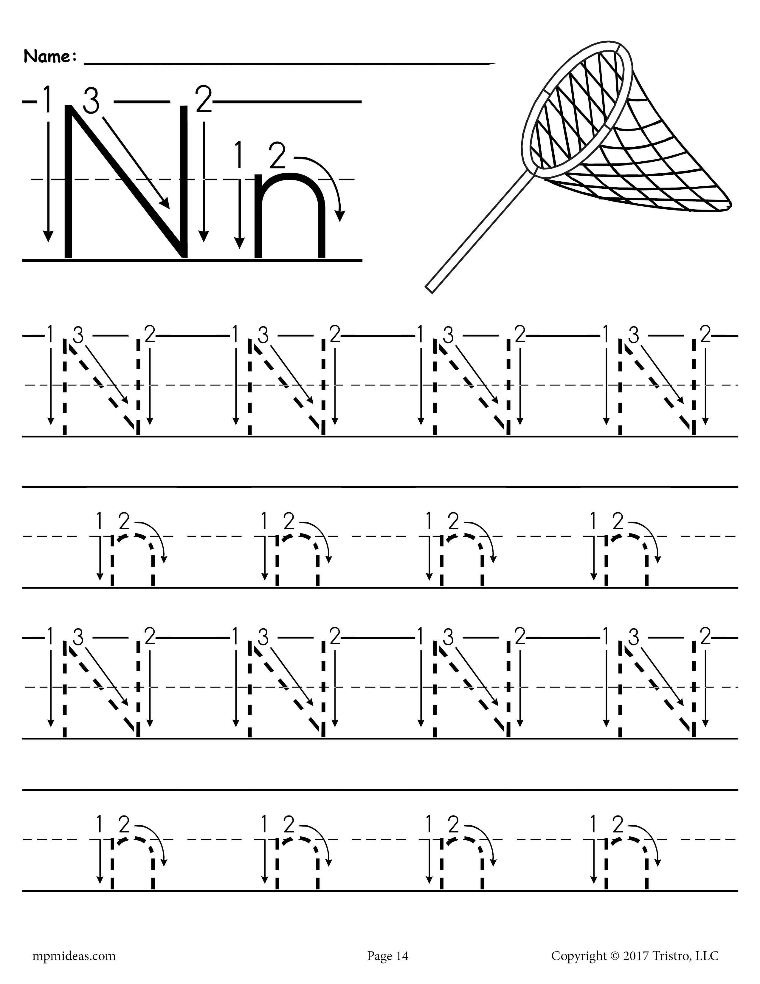 Printable Letter N Tracing Worksheet With Number And Arrow Guides Tracing Worksheets Preschool Letter N Worksheet Letter Tracing Printables [ 3300 x 2550 Pixel ]