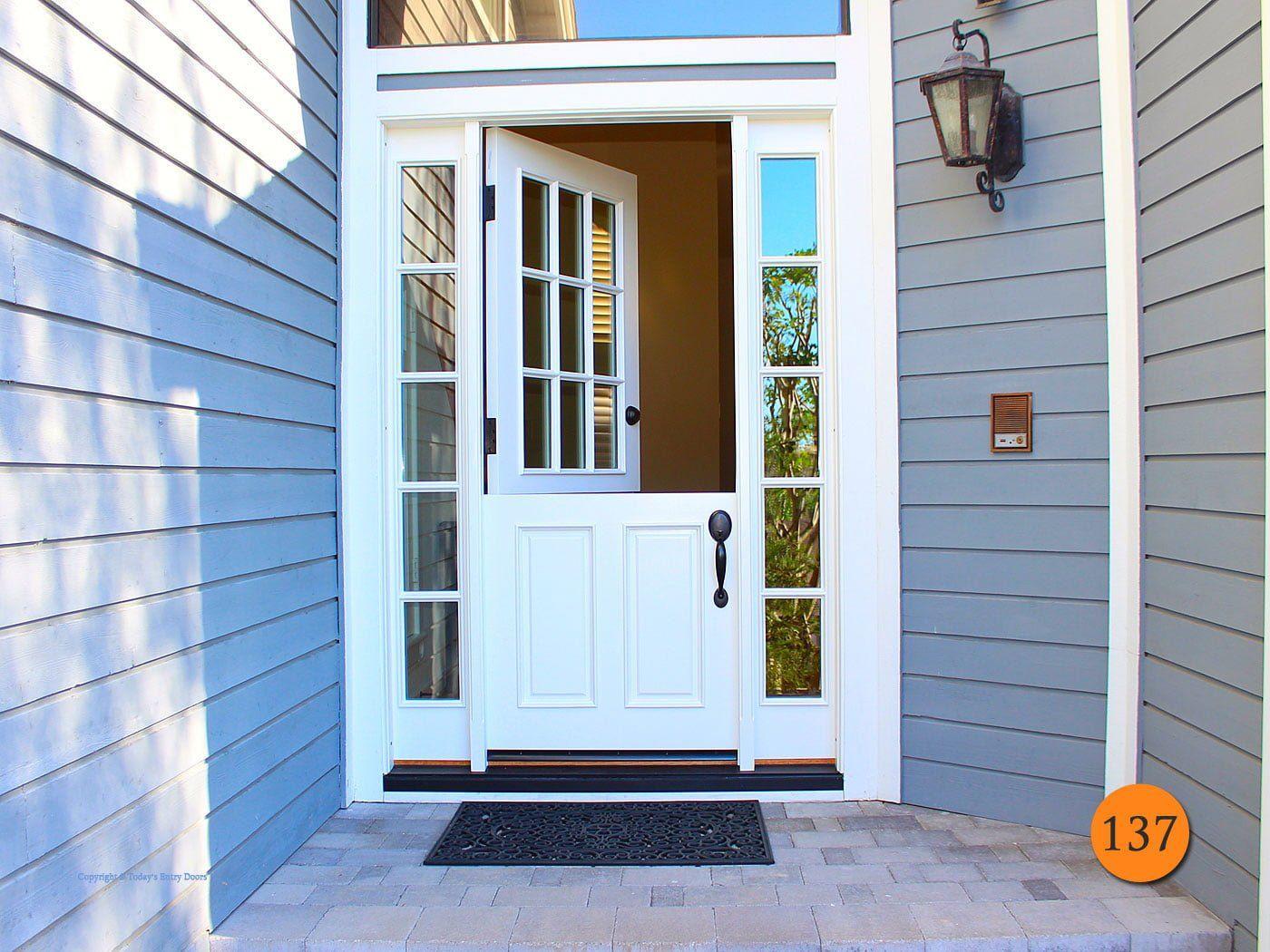 Jeld Wen A5944 Single 32 X80 Dutch With Two 12 Inch Sidelites 9 Lite Sdl Door 5 Lite Sdl Sidelights Entry Doors Craftsman Front Doors Dutch Doors Exterior