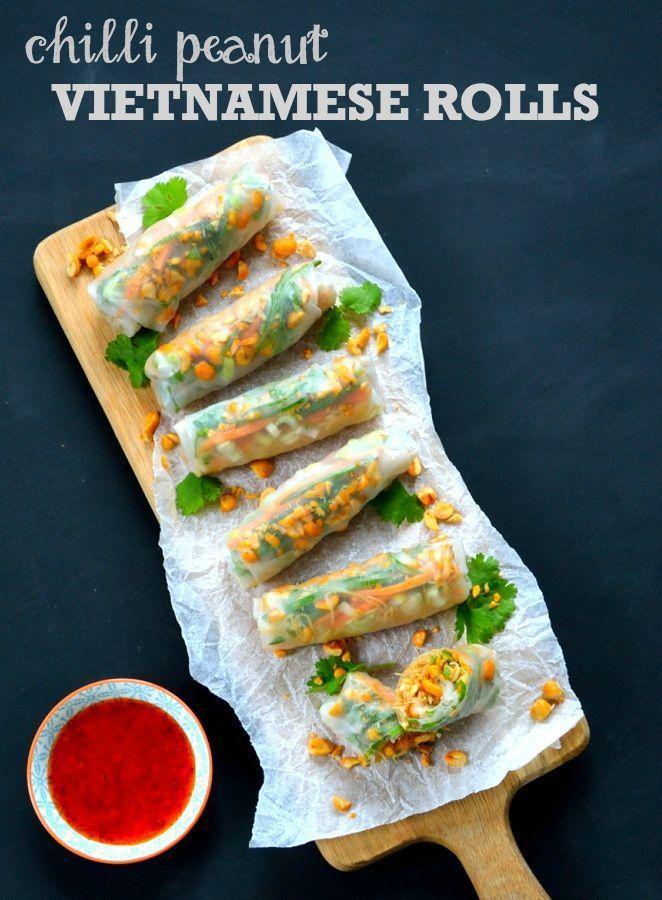 Easy Dinner Party Starter Ideas Part - 44: Recipe: Chilli Peanut Vietnamese Rolls - The Veg Space