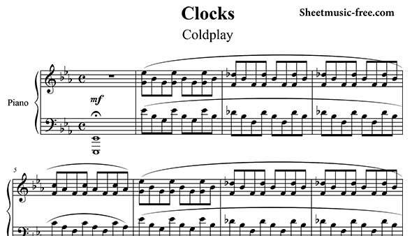Clocks Piano Sheet Music Coldplay Piano Sheet Music Free