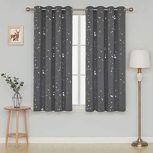Deconovo Silver Dots Printed Thermal Insulated Blackout Grommet Curtains Light W #Affilink #curtains #curtainslivingroom #curtainsideasluxury #curtainsbedroom #curtainsanddrapes #Sheercurtains #drapes #drapescurtains